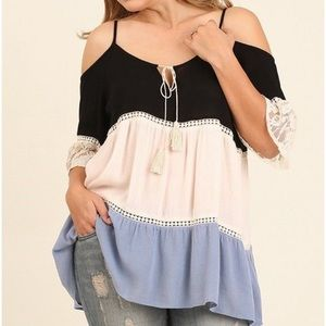 Umgee Cold Shoulder Boho Tunic Top